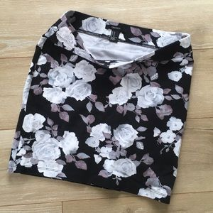 Black & White Floral XXI Mini Skirt Medium